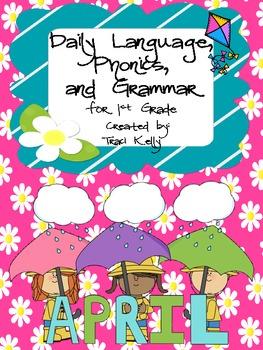 April Daily Language Arts, Grammar, and Phonics for 1st Grade