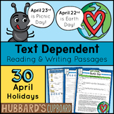 30 Daily Reading Passages & Writing Prompts - April National Days - Test Prep