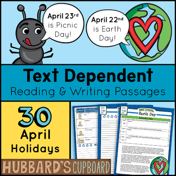 30 April Reading Passages & April Writing Prompts - April Activities