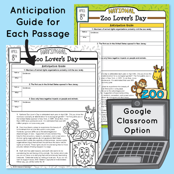 30 April Reading Passages & Writing Prompts - Google Classroom Activities