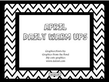 April Daily Warm Ups for Kindergarten