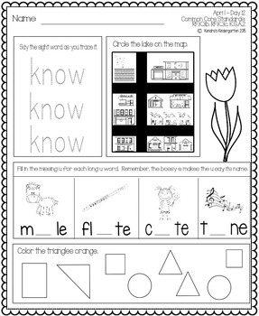 April Daily Work for Kindergarten Common Core (And More!) NO PREP Packet