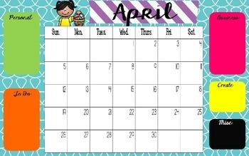 April Desktop Organizer Freebie