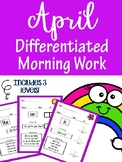 April Differentiated Morning Work Pre-Primer for Special education
