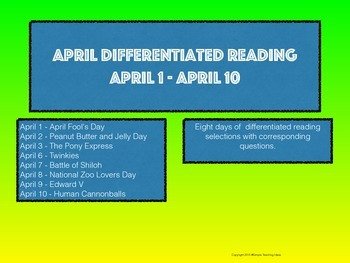 April Close Reading Differentiated Readings