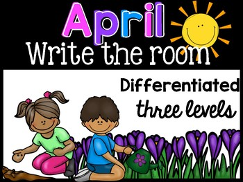 April  Differentiated Write the Room { Beginning Sounds, CVC, Mystery Sentences}