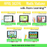 April Digital Math Stations l Task Cards | Boom Cards™