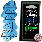"""April Door Decoration Set: """"rainy days help us grow"""" for Spring growth mindset"""