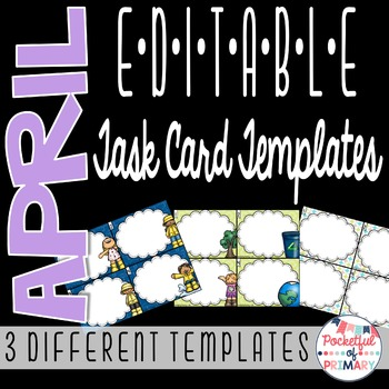 April EDITABLE Task Card TEMPLATES
