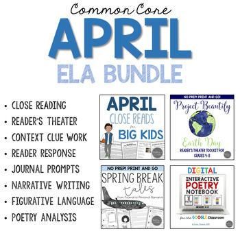 April ELA Bundle for Grades 4-6 Common Core Aligned