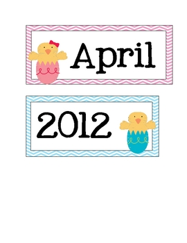 April / Easter Calendar Cards * FREE *