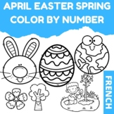 April Easter Spring Color by Number Pages (French)