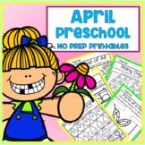 Distance Learning April Easter Spring Preschool Printable Packet NO PREP