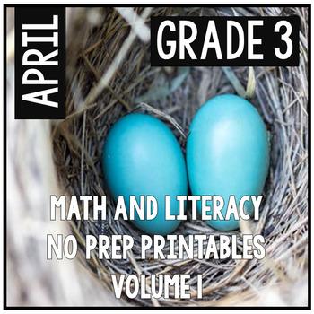 April Easter Spring Third Grade Math and Literacy NO PREP