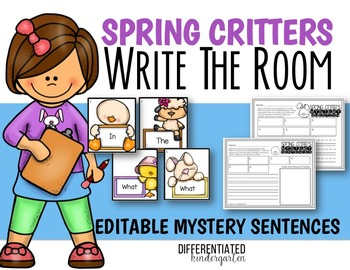 April Editable Mystery Sentences/Questions Write the Room Fun