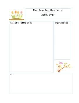 April Editable Newsletter Template by Wendy p | Teachers Pay Teachers