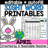 April Editable Sight Word Printables