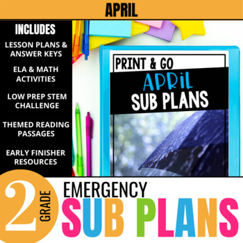April Emergency Sub Plans for 2nd Grade: Activities & Ready-to-go Lessons