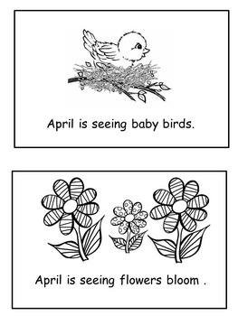 April Emergent Reader Flip Book in black and white