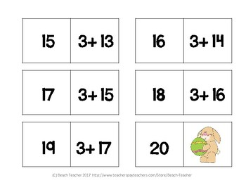 Easter Themed Equivalent Equations Dominoes 1.OA.6