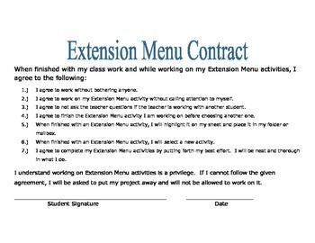 April Extension Menu w Common Core Standards