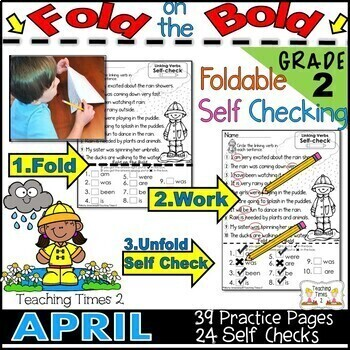 April FOLD ON THE BOLD (2nd Grade) Self Checking Math and Literacy Packet