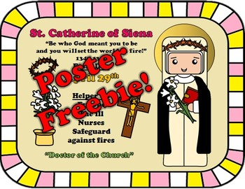 April Feast Day Catholic Saint Poster - Saint Catherine of Siena