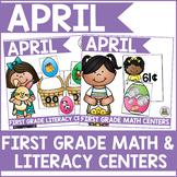 April First Grade Math & Literacy Centers Bundle