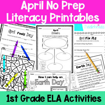 April First Grade No Prep Literacy Packet