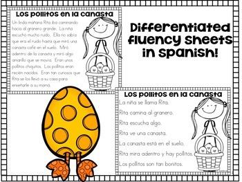 April Fluency Passages in Spanish Fluidez de abril