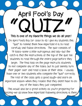 """April Fool's Day Activity - Following Directions """"Quiz"""""""