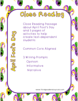 April Fool's Day Close Reading Passage and Writing Prompts
