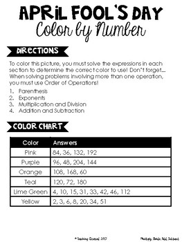 April Fool's Day Color By Number {Differentiated Versions} *UPDATED*