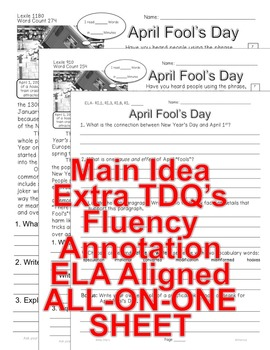 April Fool's Day Facts Close Read 5 levels Jokes, Hoaxes, Pranks PRINT-N-GO!