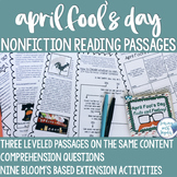 April Fool's Day Nonfiction Reading Comprehension- Leveled Text and Task Cards
