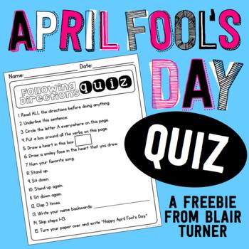 April Fool's Day Quiz FREEBIE
