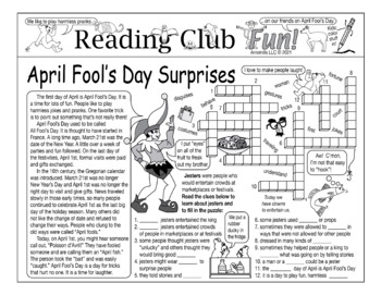April Fool's Day Surprises Two-Page Activity Set and Word Search