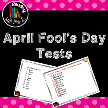 April Fool's Day Spelling Test Freebie