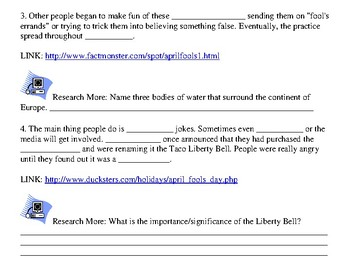 April Fool's Day WebQuest with CC Writing Prompt