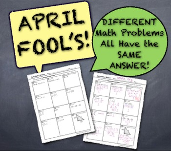 April Fool's Day Cumulative Math Quiz! Different Problems