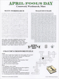 April Fool's Day Crossword Wordsearch Maze