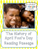 April Fool's Day Nonfiction Close Reading Comprehension Passage and Questions