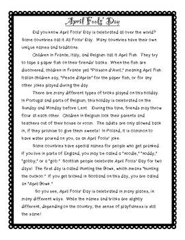 April Fools' Day Nonfiction Text, Summary & Main Idea, Graphic Organizers