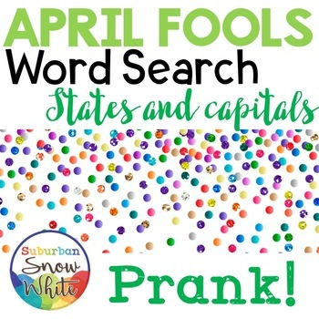 April Fools Day Prank Word Search - States and Capitals