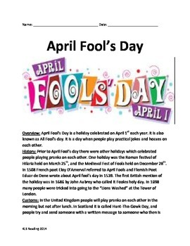 April Fools Day - informational article Full History Questions Vocab activities