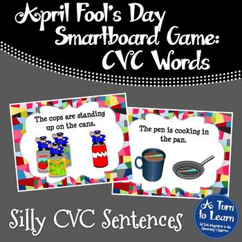 April Fool's Day Silly CVC Sentences for Smartboard or Promethean Board!
