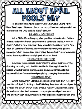 April Fools' Day Text and Activities (Upper Elementary)