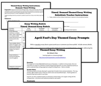 April Fool's Day Themed Essay Writing, w Rubrics & Printables