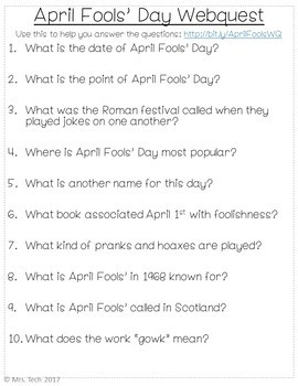 April Fools Day Webquest