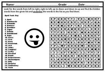 April Fools Day Word Search Puzzle Worksheet, April Vocabulary No Prep Sub Plan